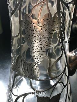 Antique S Silver 999 Superposition Glass Pitcher Grapevine 9.5 T Some Damage Alvin