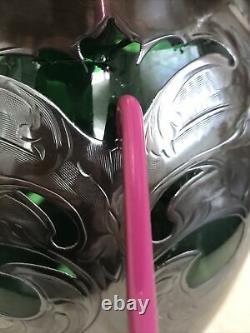 Argent Sterling Alvin Tall Émeraude Verre Vert Vase Fleurs Superposition Argent