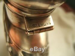 Argent Sterling Overlay Whisky Flask ½ Pt
