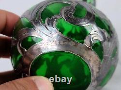 Art Nouveau Alvin Sterling Argent Overlay Green Glass Vase Top Réparé