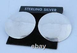 Boucles D'oreilles Fines Native Américaine Navajo Sterling Grandes Boucles D'oreilles Rondes Par Alvin Toadacheene