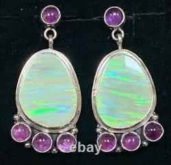Boucles D'oreilles Navajo Sterling Silver Opal Alvin Joe