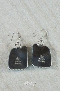 Boucles D'oreilles Navajo Turquoise & Argent Sterling Alvin Joe
