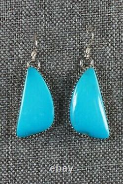 Boucles D'oreilles Navajo Turquoise & Sterling Silver Alvin Joe