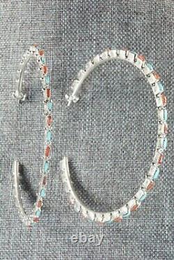 Boucles D'oreilles Turquoise, Coral & Silver Hoop Alvin & Aurelia Hughte