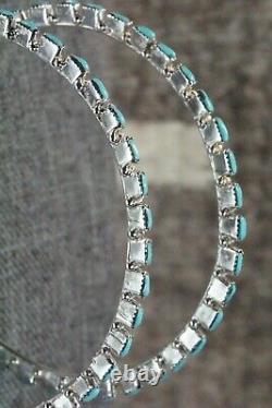 Boucles D'oreilles Turquoise Et Sterling Silver Hoop Alvin & Aurelia Hughte