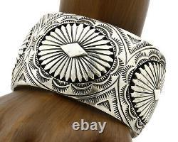 Bracelet De Manchette Navajo. 925 Argent Fait Main Signé Alvin Yazzie C. 80's