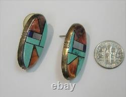 Collier Pendentif Incrusté Alvin Yellowhorse Navajo Et Boucles D'oreilles Percées 215-l