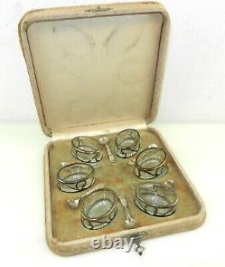 Ensemble De 6 Cellules De Sel De Recouvrement En Argent Sterling D'alvin Avec Des Sphères En Verre Ovale T82