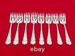 Ensemble De 8 Alvin Sterling Silver Francis I Pastry / Salad Forks Kv-1