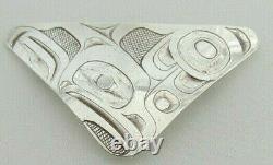 Haida Alvin Adkins Sculpté Pendentif / Broche Aigle En Argent Sterling
