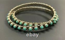 Lot De 2 Bracelets Turquoise Sterling Argent Signé Al (alvin Lee)