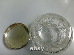 Magnifique Pot Antique De Commode En Cristal De Coupe Avec Le Couvercle Argent Sterling D'alvin