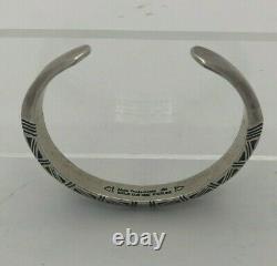 Modern Native American Alvin Todacheene Navajo Bracelet En Argent Sterling