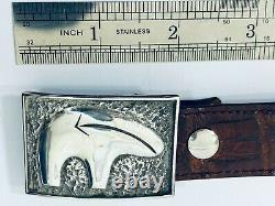 Navajo A Signé Alvin Thompson Sterling Silver. 925 Boucle De Ceinture 40 Alligator