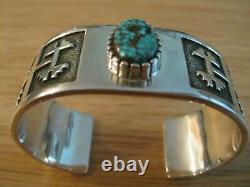 Navajo Alvin Tso Heavy Silver, Bracelet #8 Cuff Turquoise, 72.4g