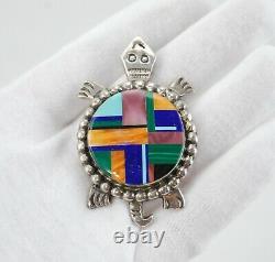 Navajo Alvin Yellowhorse. 925 Collier D'argent Sterling Et Pendentif Tortue De Pierre
