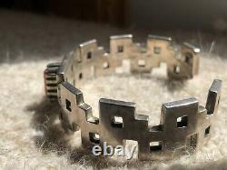 Navajo Amérindienne Alvin Tso Argent Lourd 925 Cuff Bracelet Coral