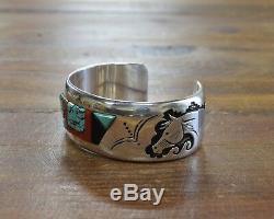 Navajo Argent Sterling Multi-stone Inlay Cheval Bracelet Par Alvin Begay