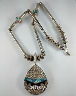 Navajo Argent Sterling Turquoise Collier De Corail Alvin & Lula Begay Réversible