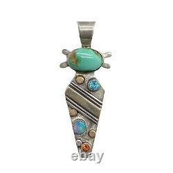 Navajo Handmade Sterling Silver & 14k Royston Turquoise Pendentif Alvin Monte