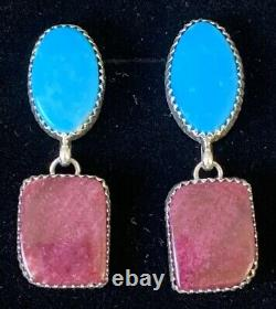 Navajo Sterling Silver Purple Spiry Oyster Turquoise Boucles D'oreilles Alvin Joe