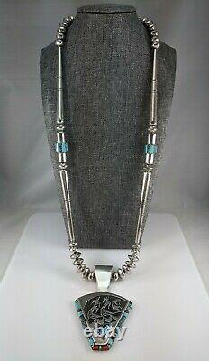Navajo Sterling Silver Turquoise Collier Collier Gagnant Alvin & Lula Begay