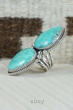 Navajo Turquoise Et Sterling Silver Ring Alvin Joe Taille 6,75