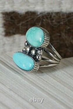 Navajo Turquoise Et Sterling Silver Ring Alvin Joe Taille 8,25