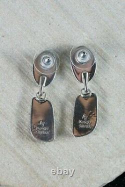 Navajo Turquoise & Oyster Aiguillat Boucles D'oreilles En Argent Sterling Alvin Joe