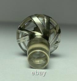 Paire Antique Alvin Sterling Argent Superposition Bouteilles De Parfum En Verre 3 1/4h Signé