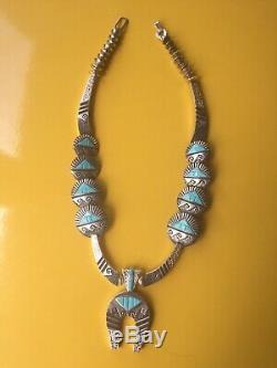 Squash Blossom Sterling Réversible Turquoise Et Corail Alvin & Lula Begay Navajo