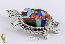 Sterling Silver Alvin Yellowhorse Inlay Pendentif Tortue Broche Lapis, Pearl, Bois