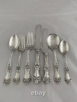 Sterling Silver Dinner Service Pour 6 Motifs Majestueux Par Alvin USA 46 Pièce