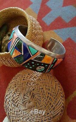 Superbe Navajo Alvin Yellowhorse En Argent Sterling Inlay Bracelet