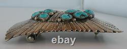 Vieille Boucle De Ceinture Festonnée Navajo Sterling Navajo Sterling Turquoise- Alvin Monte