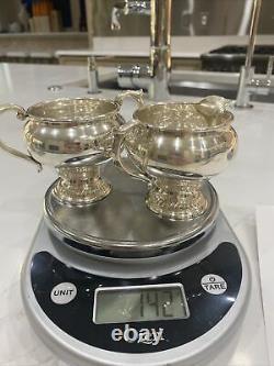 Vintage Alvin Sterling Silver Creamer Et Sugar Bowl Des Années 1940 S239 142g