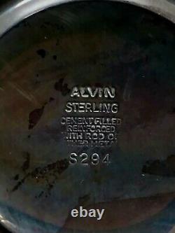 Vintage Alvin Sterling Silver S294 Porte Bougie Pondérée Avec Verre Gravé
