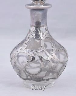 Vintage Alvin Verre Et 999 En Argent Fin Overlay Bouteille De Parfum 4.5 Art Nouveau